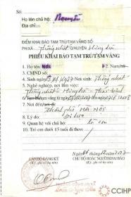 Tờ giấy đăng ký tạm trú