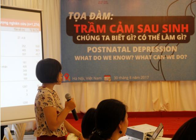 NCS. Trần Thơ Nhị - Đại học Y Hà Nội trình bày kết quả nghiên cứu về trầm cảm sau sinh