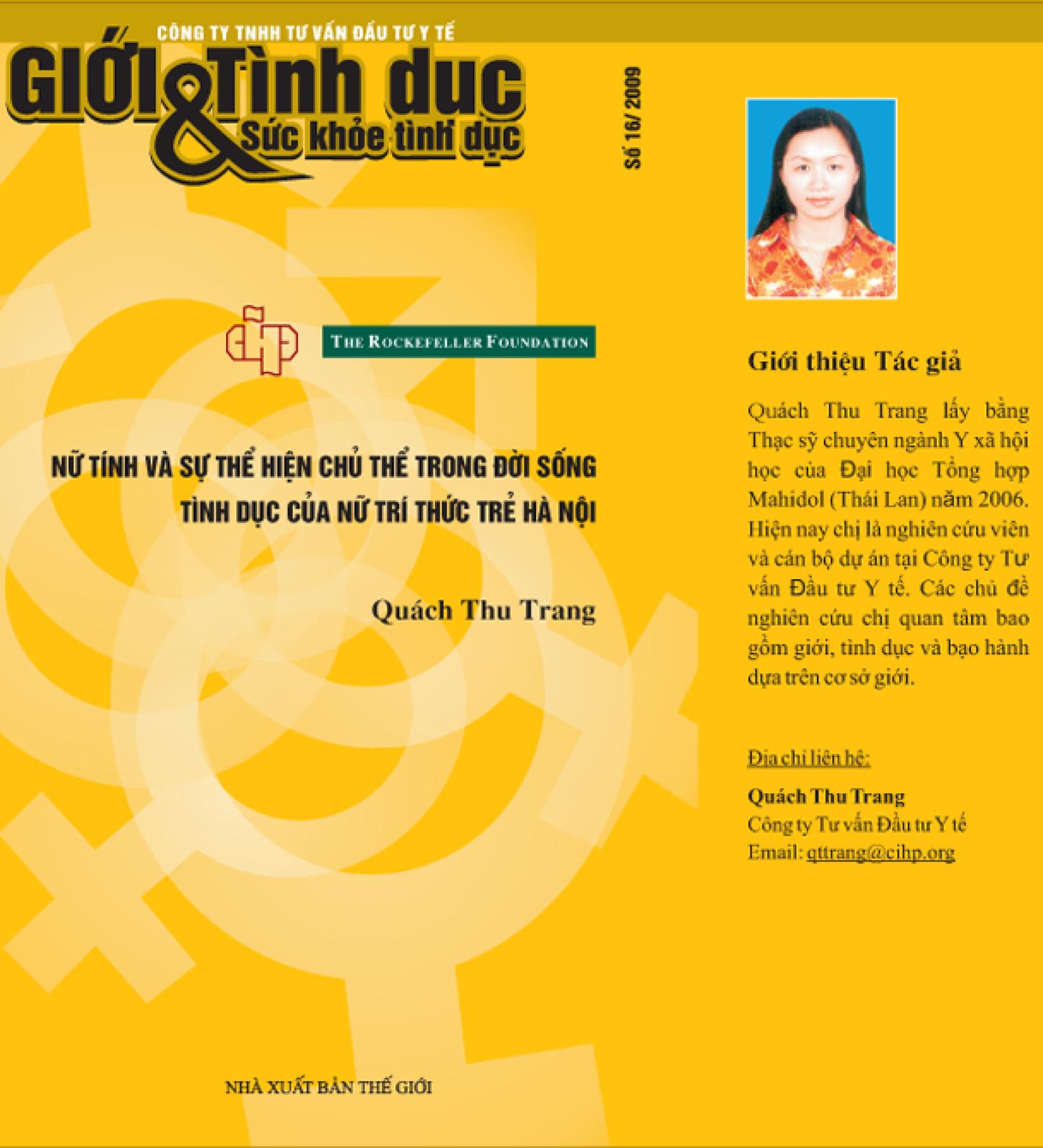 Nữ tính và sự thể hiện chủ thể trong đời sống tình dục của nữ trí thức trẻ Hà Nội, số 16, năm 2009
